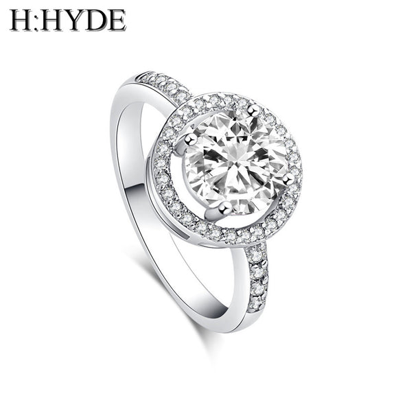 H:HYDE Classic Simple Design 4 Prong Sparkling 1.5ct Cubic Zirconia forever Wedding Ring Women bague bijoux size 5 6 7 8 9 10