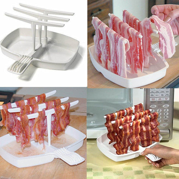 1set Removable Tray Microwave Bacon Cooker Shelf Rack Less Fat Healthier Cooking Tool BBQ Barbecue Breakfast Meal Gadgets