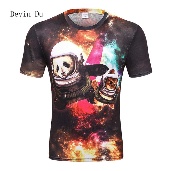 2017 new galaxy space 3D t shirt lovely panda cat funny tops tee short sleeve summer shirts for men