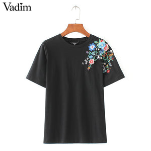 women sweet flower embroidery T shirt short sleeve o-neck summer fashion tees ladies streetwear casual tops camiseta DT967