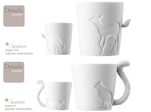 Egnara Ceramic mug cup white cat/rabbit/squirrel/fawn animal milk cup Lovers Mug Cute Birthday Gift,Christmas Gift