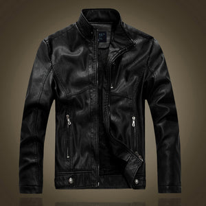 leather jacket men autumn and winter motorcycle leather jacket male black and brown Plus velvet warm jackets 8866