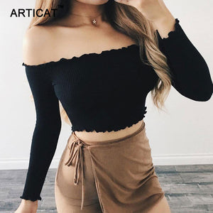 Articat Off Shoulder Long Sleeve T-shirt Women Crop Top Stringy Selvedge Party Bustier