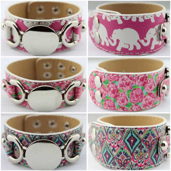 DIY Lilly Pulitzer Handmade Monogram Blank Leather Bracelets Bangles for Women Patterned Sandbeach Personalized Elephant Jewelry