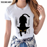 2017 Summer Naughty Black Cat 3D Lovely T Shirt Women Blusa  I Do What I Want Printing  O-Neck Short Sleeve T-shirt Tops Shirt