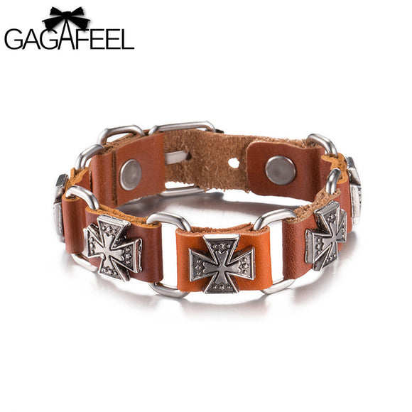 GAGAFEEL Classic Cross Leather Bracelet For Men Women Braided Jewelry Rope Chain Charm Wrap Bangle 24 CM Toggle Clasp For Party