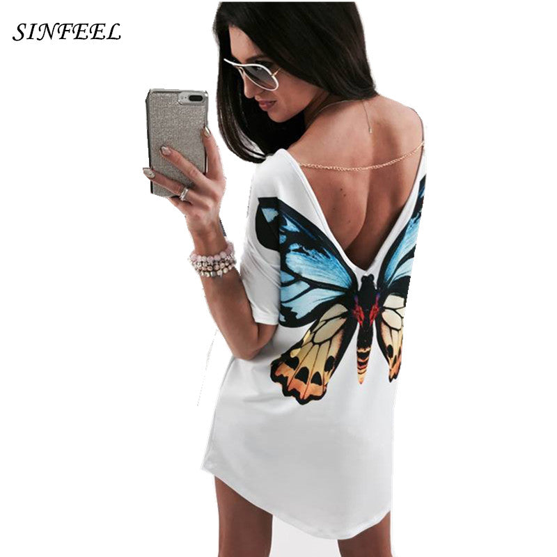 058c7121 White Printing TShirt 3D Cat Butterfly T-Shirt Women Tops Casual Female Round  Neck Short ...