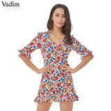 Vadim women sweet ruffles floral jumpsuits bow tie V neck short sleeve rompers vintage ladies casual brand playsuits KZ993