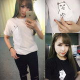 2017 Summer T-shirt Women Casual Lady Top Tees Cotton Tshirt Female Brand Clothing T Shirt Printed Pocket Cat Top Cute Tee S-4XL