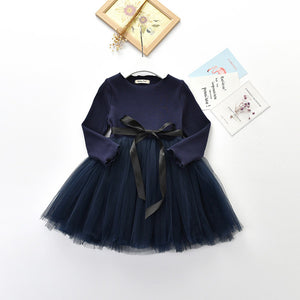 2017 New Sprining Children Clothes Girls Dress Long Sleeve Child Girls Voile Dress Princess Dress Ball Gown Dress For 2-7Y