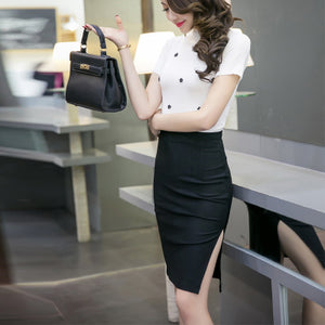 2017 New Fashion Sexy Slim Spring Autumn Women Pencil Skirt High Waist Stretch fabrics Side Split OL Lady Skirt Plus Size S--5XL