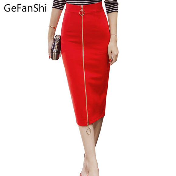 2017 New Sexy Novelty Zipper Bodycon Pencil Skirt High Waist Casual Streetwear Skirts  Fashion Elegant Women Long Skirts S-5XL