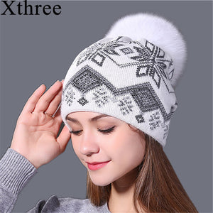 Xthree new real mink pom poms Christmas wool rabbit fur knitted hat Skullies winter hat for women girls hat feminino beanies hat