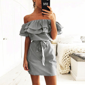 2017 Woman Sexy Ruffles Dress Summer Straight Striped Female Mini Dresses Fashion Butterfly Sleeve Slash Neck Plus Size Vestidos