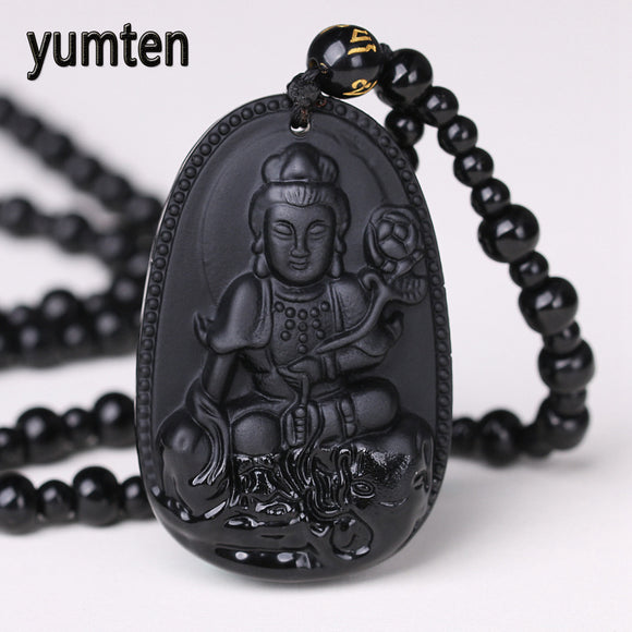 Yumten Obsidian Necklace Pendant Natural Stone Buddha Guardian Bead Chain Lucky Gift Collier Femme Cats Boho Crystal Dendy Fairy