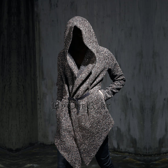 Autumn winter men gothic hooded trench coat black punk personality cloak robe mens harajuku woolen long coat cape swag overcoat