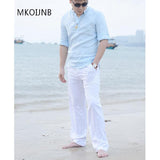 New High quality Men's Summer Casual Pants Natural Cotton Linen Trousers White Linen Elastic Waist Straight Man's Pants