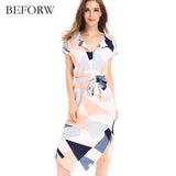 BEFORW Summer Dress Fahsion Multicolor Printing Women Dresses High Quality V Neck Long Dress Casual Beach Maxi dress Vestidos
