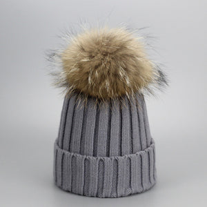 Real Fur Winter Hat Raccoon Pom Pom Hat For Women Brand Thick Women Hat Girls Caps Knitted Beanies Cap Wholesale  2017 new 9275