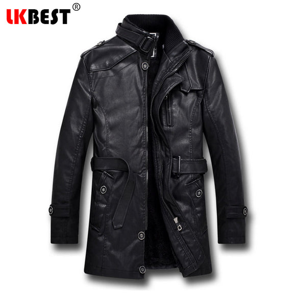 LKBEST 2017 Men Long Leather Jacket Winter Black Thick winter jacket men Casual Motorcycle Jacket Brand mens overcoat (PY06)