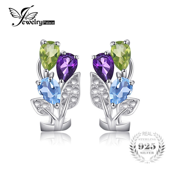 JewelryPalace Flower Multicolor 2.5ct Genuine Amethyst Peridot Blue Topaz Clip On Earrings Genuine 925 Sterling Silver Jewelry