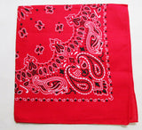 FOXMOTHER 2017 New Hot Sales 100% Cotton 55cm*55cm Black Red Paisley Printed Bandanas For Women/Men/Boys/Girls