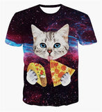 2017 New Galaxy Space 3D T Shirt Lovely Kitten Cat Eat Taco Pizza Funny Tops Tee Short Sleeve Summer Shirts Plus S-6XL R1935