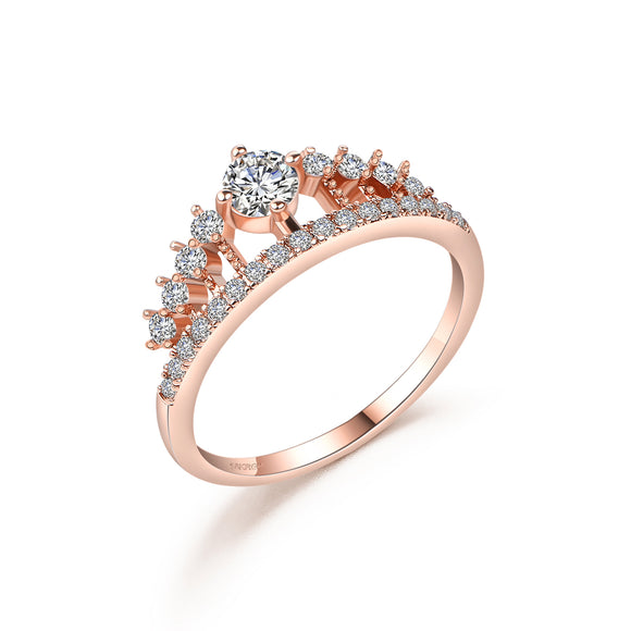 DROLE 2017 New Arrival Rose Gold Color Rings For Women Luxury Crown Wedding Rings Fashion Jewelry Zircon