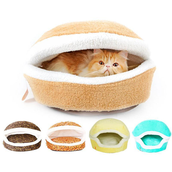 PETPETROL 2018 Hamburger Bed House Warm Windproof Hiding Nest Shell Pet Kennel