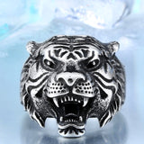 Titanium Tiger Head Personality Ring