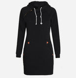 Warm Winter High Quality Hooded Dresses Pocket Long Sleeved Casual Mini Dress Sportwear Women Clothings LX130