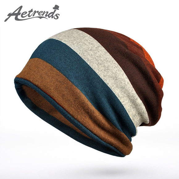 Hot Sale Double Layers Cotton Striped Hip Hop Skullies Winter Warm Hats Scarves Beanies Headgear Z-5004