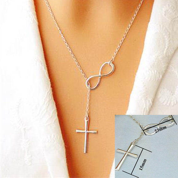 1 pc hot sale Infinity Cross Pandent Necklace Women Girl Wedding Event Necklace Jewelry