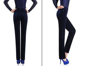 2017 Spring Fashion Velvet High waist casual pants corduroy pants trousers straight trousers stretch Slim large size 7xl
