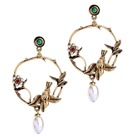ATHENA 2018 Charm Alloy Bird Earring Metal Vintage Flower Stud Earrings For Women