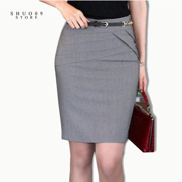 2017 Women Skirts Autumn Winter Office Formal Pencil Skirts Casual Sexy Slim High Waist Knee-Length Midi Skirt Plus Size 4XL