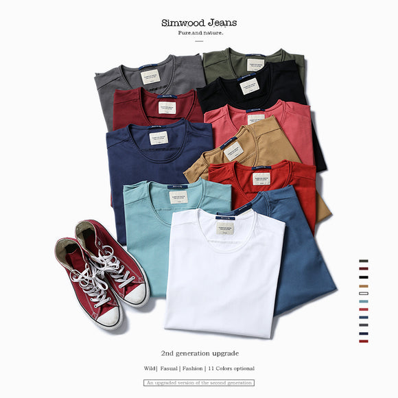 SIMWOOD 2017 new arrival  Autumn long sleeve t shirt  men causal fashion young 100% cotton  T Shirts Tops Tees Plus Size  TL3505