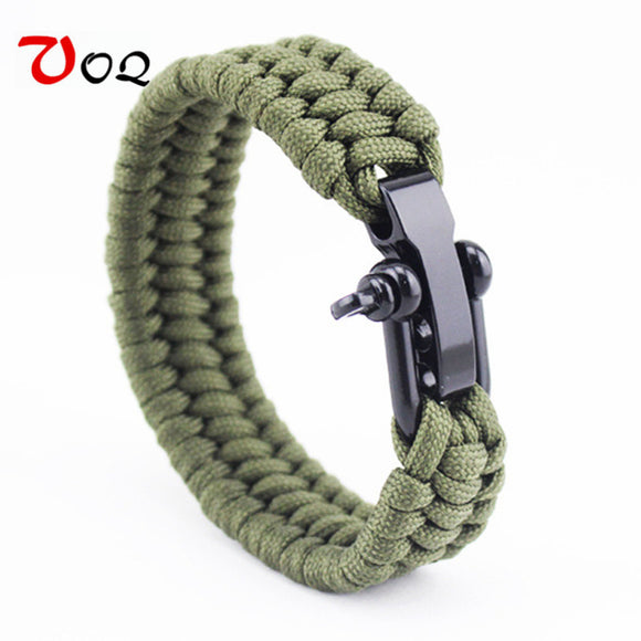 100% Top Outdoor Camping Rescue Paracord Bracelet Men Survival Parachute Cord Braided Rope Adjustable Stainless Steel Bracelet