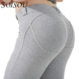 SOISOU Low Waist Leggings Women Sexy Hip Push Up Pants Legging Jegging Gothic Leggins Jeggings Legins 2017 Autumn Winter Fashion