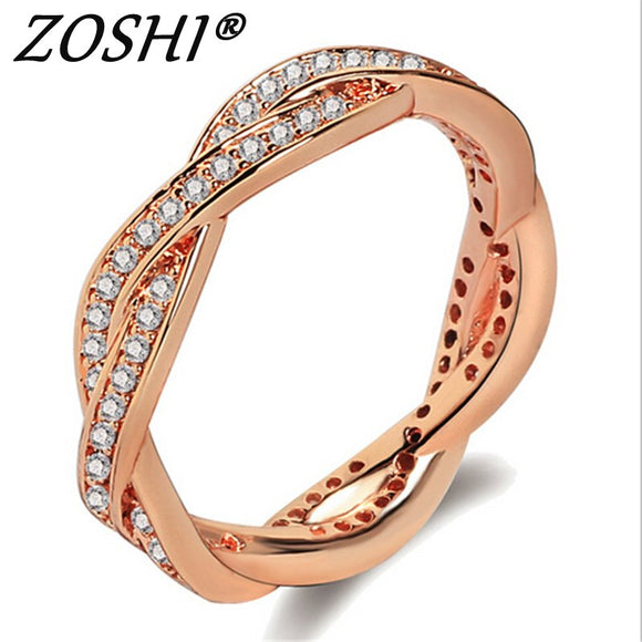 ZOSHI Zircon Engagement Rings for women Rose gold Silver color Wedding rings female anel Austrian Crystals Jewelry top quality