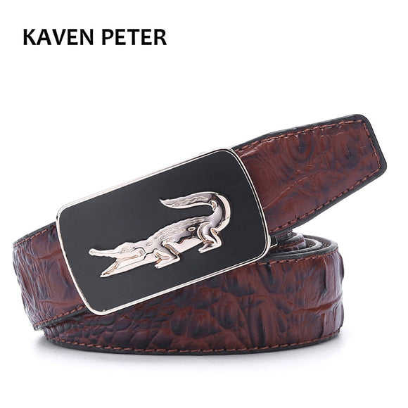 Crocodile Pattern Belt Fashion Luxury Alligator Automatic Buckle Belts Without Buckle Tooth On Strap Novelty Men's Belt