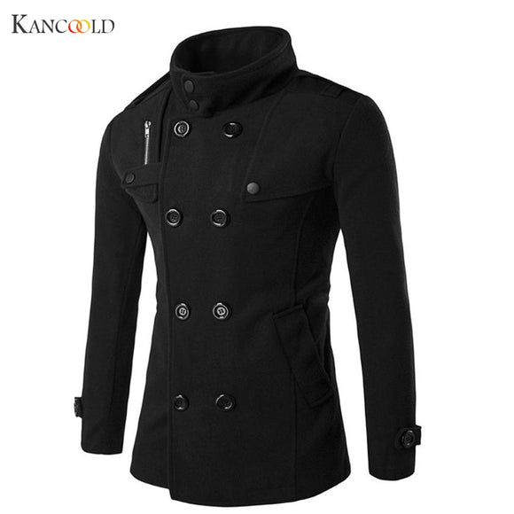 New Fashion Men Solid Slim Trench Coat England Style Long Jacket Overcoat Double Breasted British Style Overcoat No2