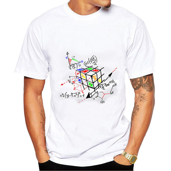 2017 New Fashion Math Work Design Men T-shirt White Cotton Short Sleeve Hipster Tops Rubik cube Printed t shirts Cool tee