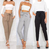 2017 Hot Women High Waist Elastic Harem Pants Chiffon Office Lady Solid Pencil Trouser