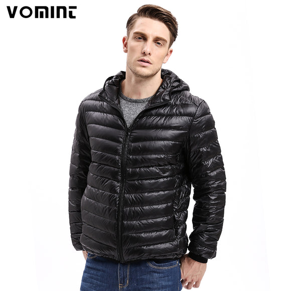 Vomint Brand New Mens Down Coat Jacket Light Fabric Down feather jacket Hooded Men Fashion Winter Down feather Coat V7A1C002
