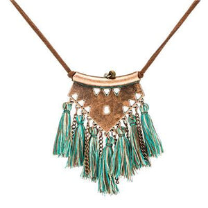 Leather chain Long tassel Pendant Necklaces