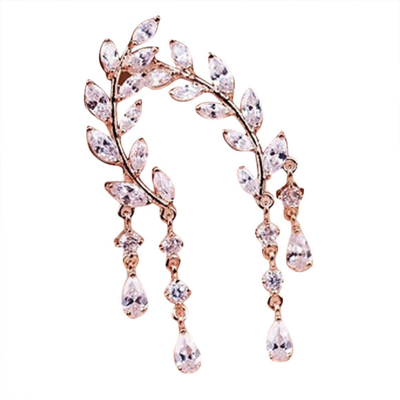 1Pair Women Fashion Crystal Rhinestone Leaves Tassel Ear Stud Earrings Rose Gold