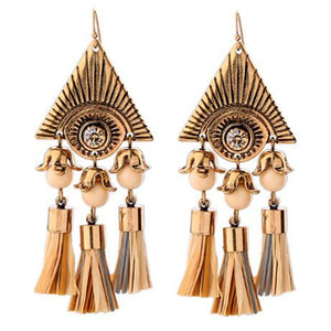 Punk Style Gold and Triangular Tassel Earrings by Athena Collections