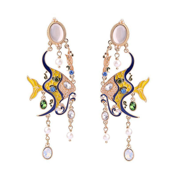 ATHENA 2018 Unique Design Luxury Original Earrings For Woman Weddings Jewelry Yellow Lucite Fish Long Tassel Drop Earrings