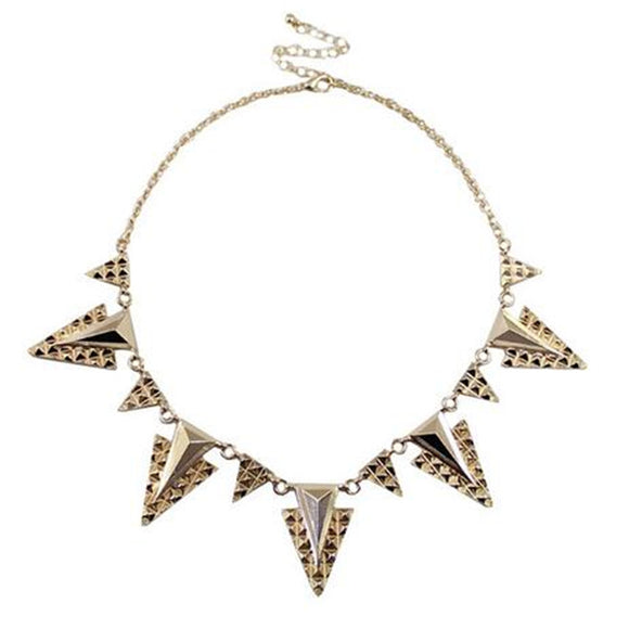 ATHENA 2018 Gold Color Metal Triangle Pendant Necklace For Women Fashion Statement Choker Charm Jewelry Wholesale